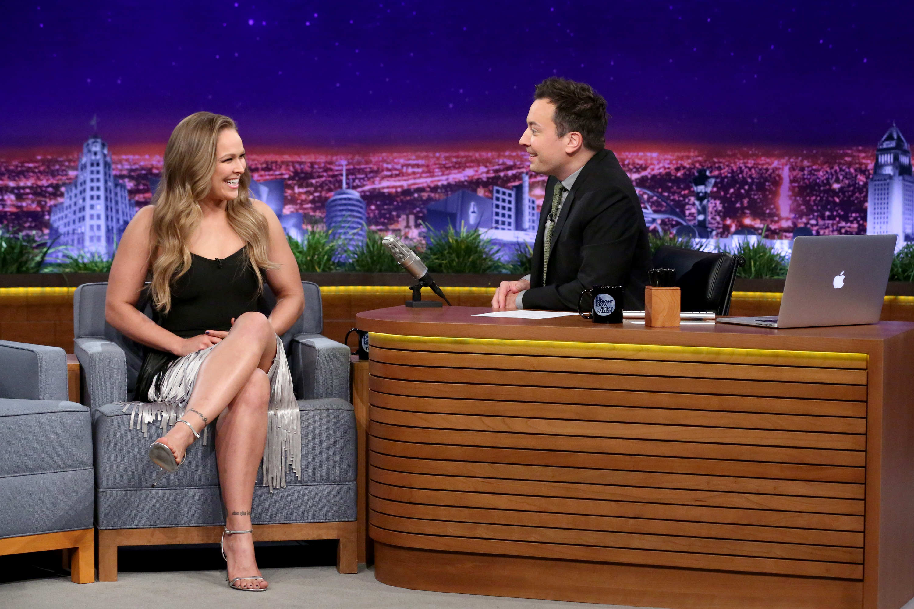 THE TONIGHT SHOW STARRING JIMMY FALLON -- Episode 0418 -- Pictured: (l-r) Mixed martial artist Ronda Rousey during an interview with host Jimmy Fallon on February 16, 2016 -- (