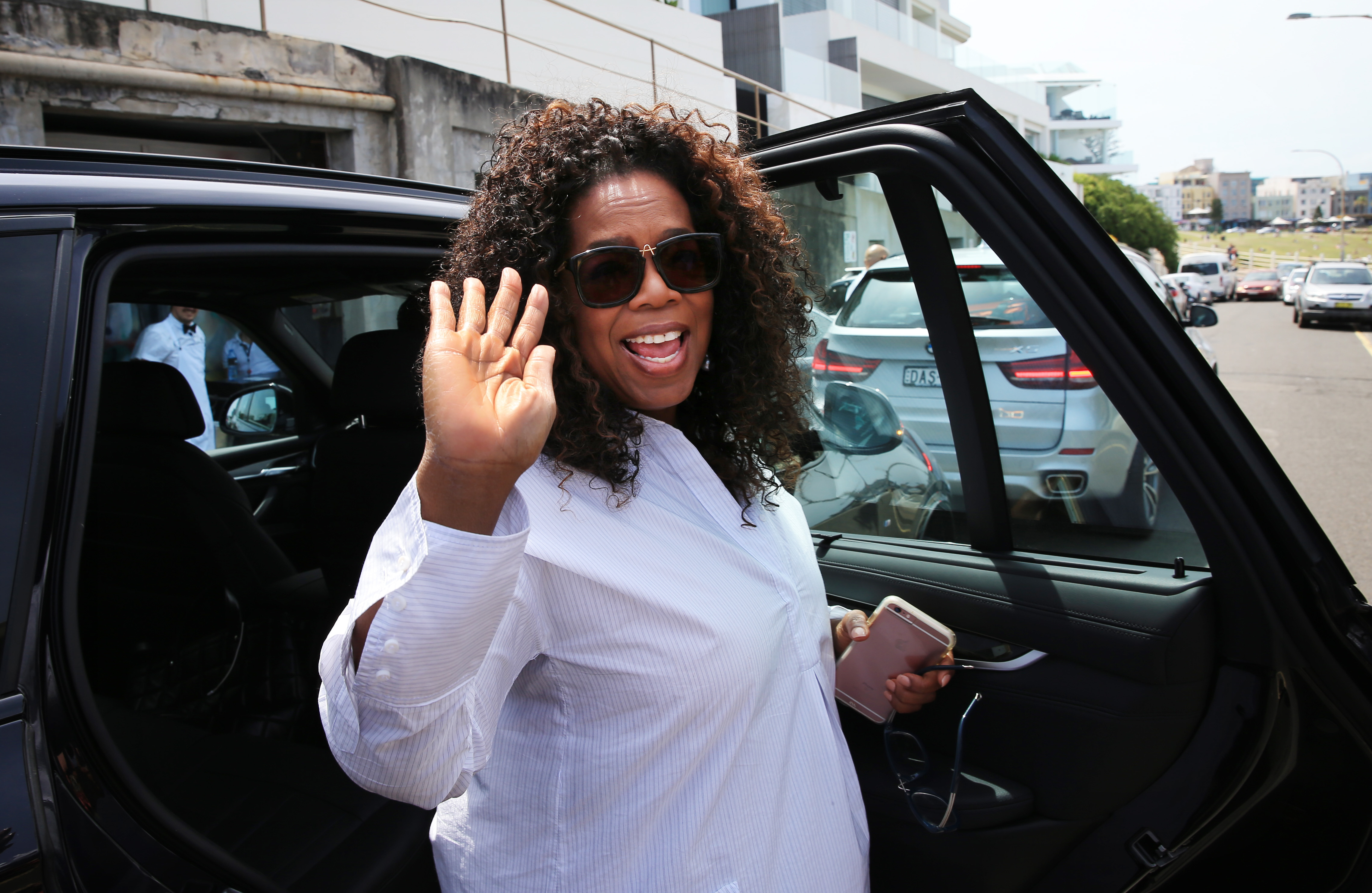 SYDNEY, AUSTRALIA - DECEMBER 13: (EUROPE AND AUSTRALASIA OUT) American talk show host Oprah Winfrey leaves after lunching at Bondi Icebergs restaurant, before driving to Sydney Airport in Sydney, New South Wales.