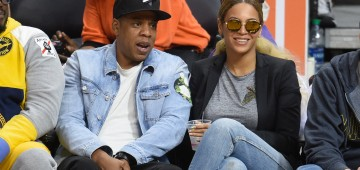 LOS ANGELES, CA - FEBRUARY 29:  Jay-Z (L) and Beyonce attend a basketball game between the Brooklyn Nets and the Los Angeles Clippers at Staples Center on February 29, 2016 in Los Angeles, California.